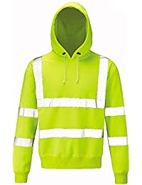 Raiken Hi Vis Visibility Pull Over Hoody High Viz Hooded Jumper Top Size Yellow