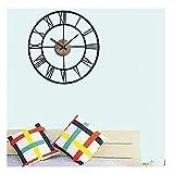 Walplus Wanduhr mit selbstklebenden 3D Zahlen, Wandtattoo, Motiv: Uhr mit roemischen Ziffern, Wohnraumdeko, 50 x 50 cm, Schwarz