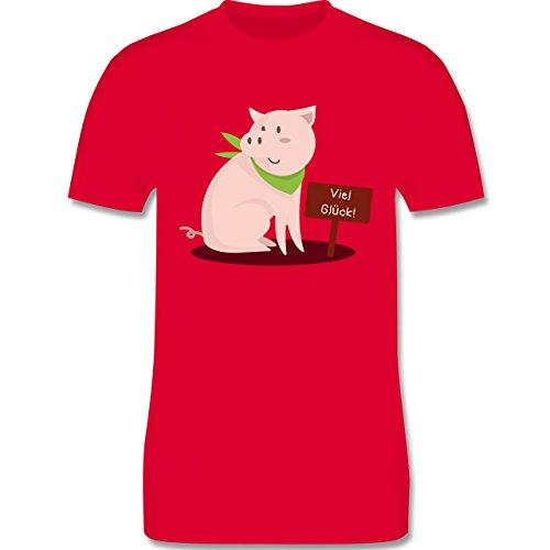 Sonstige Tiere - Glücksschweinchen - Herren Premium T-Shirt Rot