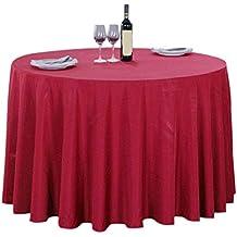 Asvert Falda de Mesa Roja Redonda Antimanchas Resistente a Líquidos de Estilo Rústico para Comedor Cocina Bar y Jardín