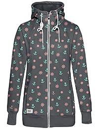d56fb4ce3a TrendiMax Damen Sweatjacke Kapuzenjacke Full Zip Sweater Langer Hoodie  Kapuzenpullover