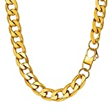 "PROSTEEL Can Engrave, 5/6/9/13MM Curb Chain Necklace, 14/18/20/22/24/26/28/30"", 316L Stainless Steel/18K Gold Plated//Black (Send Gift Box)"