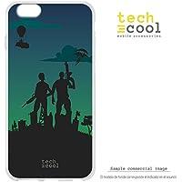 FunnyTech® Funda Silicona para iPhone 6 Plus / 6S Plus [Gel Silicona Flexible Alta Calidad] [Ultra Slim 1,5mm-Gran Resistencia] [Diseño Exclusivo, Impresión Alta Definición] [Juego Fortnite diseño personajes fondo verde]