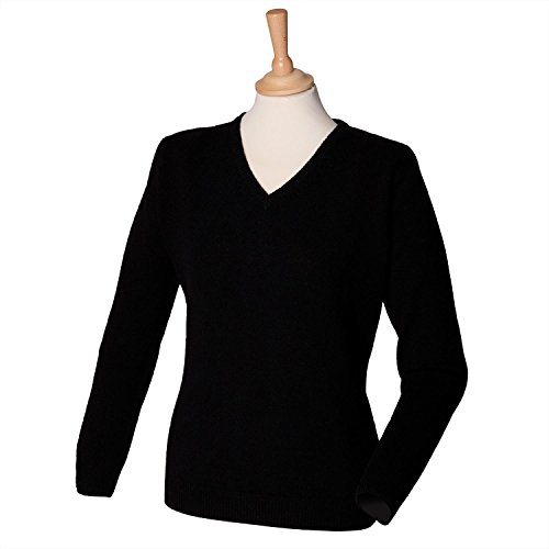 Henbury Womens lambswool v-neck jumper Black L (V-neck Double-knit)