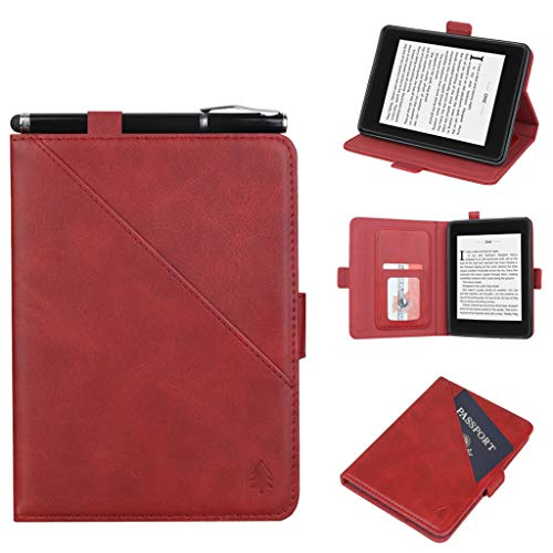 Jintime Hülle Amazon Kindle 10th Generation (2019) Tablet, PU Leder Stand Case Cover mit Passport Card Slots Protector Buch Shell mit Smart Auto Wake/Sleep Funktion (Rot)