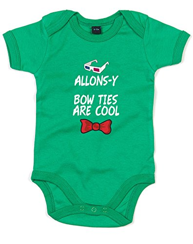 Allons-y Bow Ties Are Cool, Gedruckt Baby Strampler - Kelly Green/White/Transfer 12-18 Months