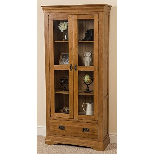 French Rustic Solid Oak Glass Display Cabint with Drawer.