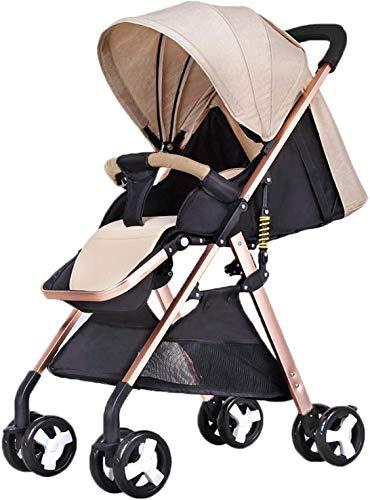 Baby carriage Kinderwagen • Horizontaler Buggy • Geburtsgewicht Bis 25 Kg • Leichter/Kompakter/Flach Zusammenlegbarer/Fünfpunkt-Sicherheitsgurt • Mit Uv-Markise, Weiß