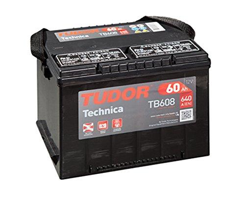 Batteria auto 60Ah Tudor Exide Technica, 12 V. Dimensioni: 230 x 180 x 186. Faretto sinistra.