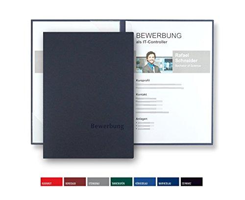 8 Stück zweiteilige Bewerbungsmappen BL-exclusivdruck BL-plus in Marineblau - Premium-Qualität mit edler Relief-Prägung \'Bewerbung\' - Produkt-Design von \'Mario Lemani\'