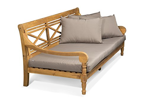 LANTERFANT - Loungebank Roos, Relaxliege, Sofa, Kissen, Bett Teakfarbe und Taupe, 182x90x74 cm