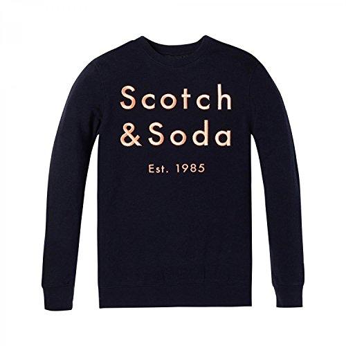 Scotch & Soda Herren Sweatshirt Classic Crewneck Sweat with Embroidered Logo Chest Artwork Blau (Night Melange 0419)