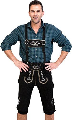 Almwerk Herren Trachten Lederhose Kniebund Modell Hipster in schwarz, braun und Hellbraun, Farbe:Schwarz;Lederhose Größe Herren:48