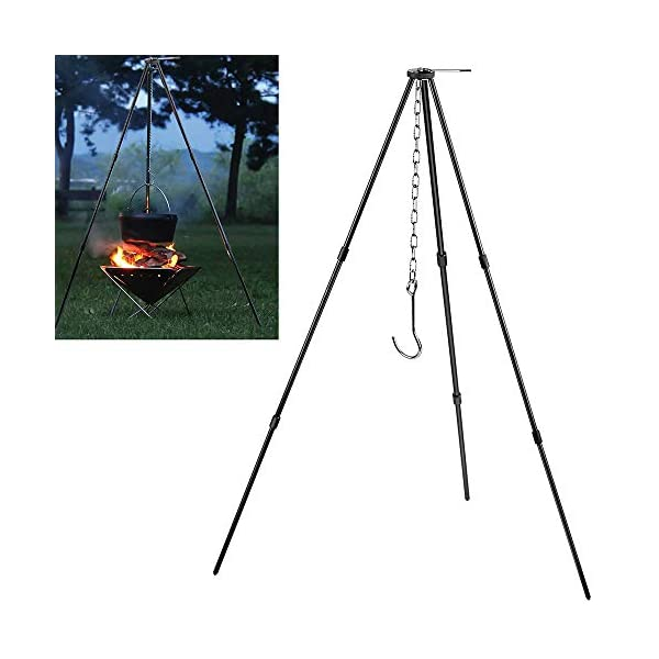 Zerich Camping Tripod Campfire Cooking Dutch Oven Tripod Portable Outdoor Picnic Foldable Cooking Tripod Barbecue Accessory Cooking Lantern Tripod Hanger with Storage Bag for Camping Activities#7824 5