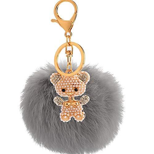 Bellecita decorazioni portachiavi di moda strass lega perla orso peluche palla portachiavi ciondolo peluche bambola portachiavi portachiavi (grigio)