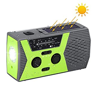 AOZBZ Solarbetriebenes Kurbelradio für Notfall, mit AM/FM-Taschenlampe, Leselampe, mehrfach verwendbar, Radio, 2000 mAh, Power Bank