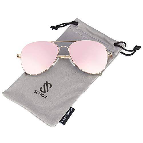 SOJOS Mode Metallrahmen Verspiegelt Linse Herren Damen Sonnenbrille mit Frühlings Scharnieren SJ1030 mit Gold Rahmen/Rosa Linse