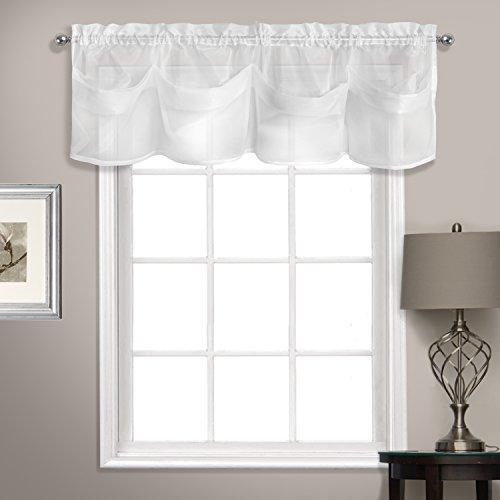 United Vorhang Sheer Voile Tuck Querbehang, weiß, 142,2x 35,6cm - Fenster Behandlungen Topper
