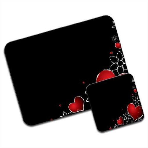 red-hearts-silver-flowers-on-black-background-premium-mousematt-coaster-set