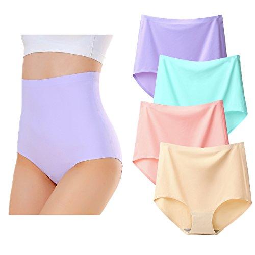 KISSLACE Damen Slip Unsichtbare Nahtlose Hohe Taille Unterhose Hipsters 4er Pack 4er Pack A 3XL=EU50/52