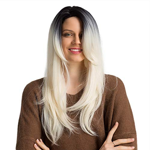 Rifuli® Perrücke Frauen Sexy Gradient Bobo Glattes Haar Synthetische Perücke Mode Hitzebeständige Perücken + Kappe Styling Lange Haare ()