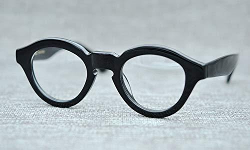 LKVNHP Acetat Marke Herren Sonnenbrille Schwarze Brille Mann Dicken Rahmen Vintage StyleKlar