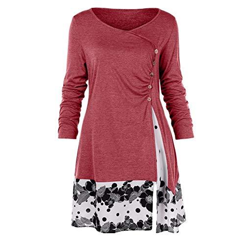 Bluelucon Damen Blusen Chiffon Langarm Tunika mit Reißverschluss Vorne V-Ausschnitt Oberteile T-Shirt