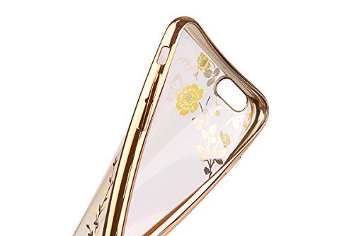"""iPhone 6sPlus Hülle Glitzer-Strass Case, CLTPY iPhone 6Plus Schutzfall Plating TPU Transparent Dünne Handytasche im Elegante Stylisch Series, Luxus Bling Schale für 5.5"""" Apple iPhone 6Plus/6sPlus (Nic Grüne Blumen"""