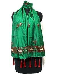 LAYERz India - GREEN SILK STOLE / HEAD SCARF WITH HAND EMBROIDERY (Bakhia, Tiki & Mukaish Work)