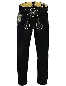 Shamzee Trachten Lederhose Lang Inklusive Gürtel aus Echtleder in Schwarz Farbe