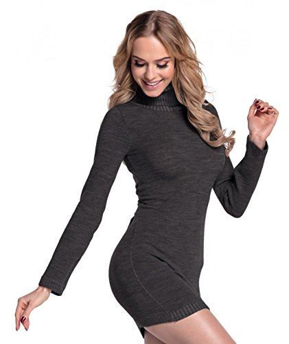 Glamour Empire. Femme Robe moulante en maille. Robe pull à col roulé. 888 Graphite