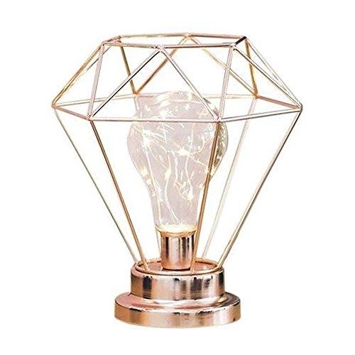 JYCRA Diamant-Tischlampe, kreativer Geometrie-Stil, Schreibtisch-Dekoration, Nachtlicht für Schlafzimmer, Wohnzimmer, Kommode, Kinderzimmer, Metall, Rose Gold, 19,5 cm