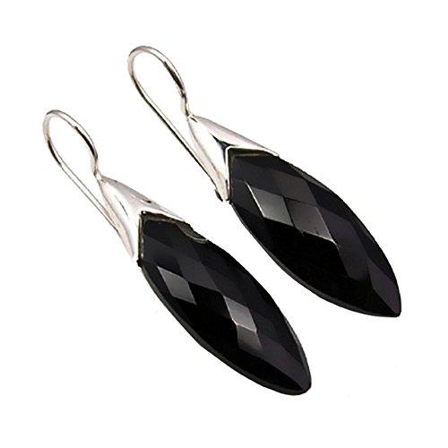 Unique Exklusive Jugendstil Ohrhänger schwarzer Onyx Tropfen eingefasst in 925 Sterling Silber nickelfrei 13 Karat in Juweliers- Qualität