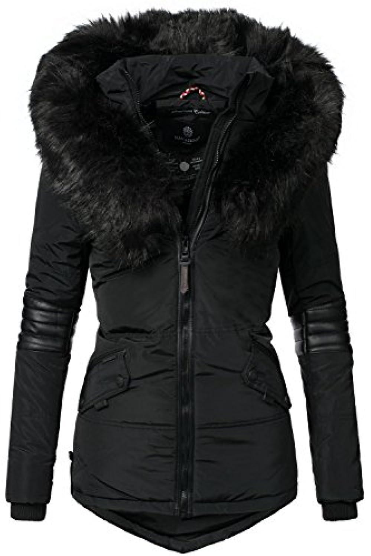 Navahoo Adele Veste d'hiver pour Dame avec Une Capuche en Fausse Fourrure Noire Rouge L