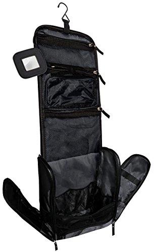 Kulturbeutel Kulturtasche für Männer und Frauen zum Aufhängen – Reise-Kosmetiktasche groß – Waschtasche mit GRATIS Flüssigkeitsbehälter und Schlafbrille – VAN BEEKEN Waschbeutel (Schwarz)