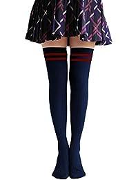 Las mujeres invierno calentador Classic rayas muslo alta calcetines por encima de la rodilla calcetines azul oscuro