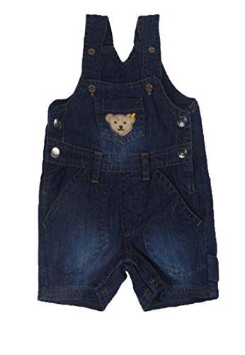 Steiff Baby - Jungen Latzhosen Latzshorts, Einfarbig, Gr. 56, Blau (dark blue denim 0012)