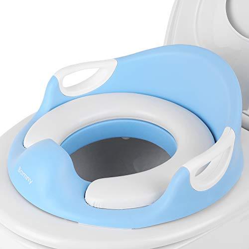 BAMNY WC Trainer, Toiletten-Sitz für Kinder, ergonomisch geformt, sicher und bequem, mit Spritzschutz (Blau)