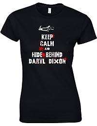 Keep Calm and Hide Behind Daryl Dixon Walking Dead Zombie inspiré femme Imprimé T-Shirt
