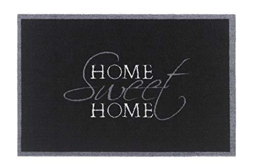 Motiv Fußmatte Fussmatte Antirutschmatte Schmutzfangmatte Fußmatten - Verschiedene Design Motive - Sprüche Witzig Schön - waschbar bis 30°C - Größe 40 x 60 cm (Sweet Home Black)