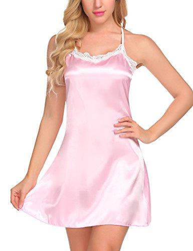 Untlet Damen Satin Schlafanzug Sexy Negligee Nachthemd Nachtwäsche Nachtkleid Spitze Dekor mit Shorts Sleepwear Set Pink XS