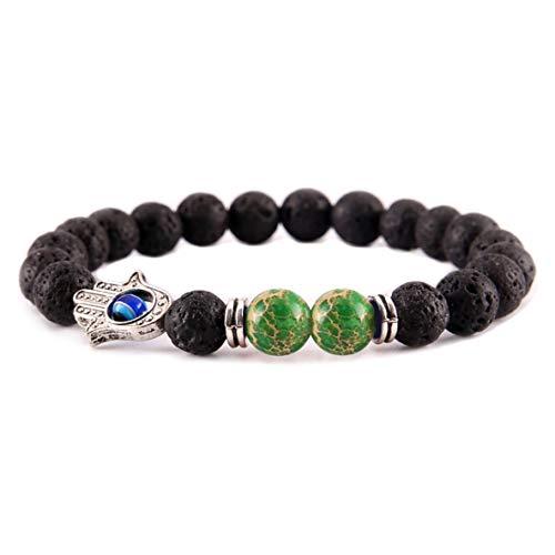 Heshengj peerless - braccialetto unisex con perline in pietra lavica nera e occhio di fatima, braccialetto colorato per yoga, chakra e nessuno, colore: sl18005b, cod. 9_cds5129