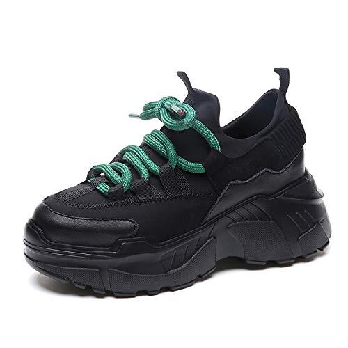 Lianaic tacchi alti scarpe da donna con sneakers alte in nero nero 35