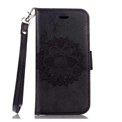 e für Sony Xperia X, Premium Brieftasche Leder Schutzhüllem Multifunktion Klappständer Schützthülle mit kartenfächern für Sony Xperia X (#6 Schwarz) ()