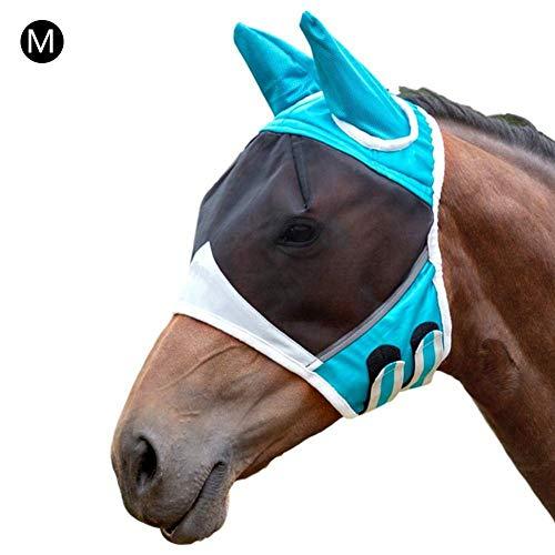 cypressen Fliegenmaske Pferd, mit Ohrenschutz Milchseide Bequem Atmungsaktiv (Schwarz/Blau)