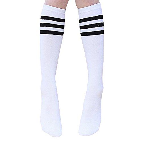 Xuxuou Kinder Lange Socken, Mädchen, für Knie, Baumwolle, Socken, Schwarz, mit Streifen, mit Socken, 1Paar, acryl, Black stripes + white, M -