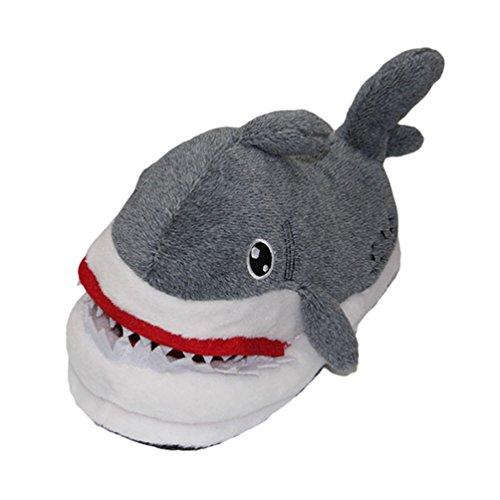 (CHENGYANG Unisex Plüsch Pantoffeln Weiche Wärme Tier Slippers Pantoffel Lustig Kuschel Karikatur Hausschuhe (Hai))