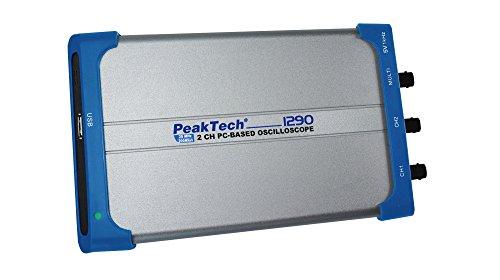 PeakTech 1290 – 2-Kanal PC-Oszilloskop (25MHz) mit USB-Anschluss (isoliert), inkl. Leistungsstarke PC-Software, DSO, Tragbar, Speicher Digitaloszilloskop (10 Mio./Ch.), 20 Autom. Messmodi - Windows
