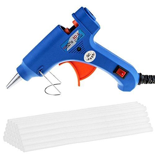 MAIKEHIGH Mini-Heiß klebepistole mit 30 Stück Klebestifte Hochtemperatur-Schmelzklebepistole-Kit Flexibler Trigger für DIY Kleine Craft-Projekte (20-Watt, Blau)