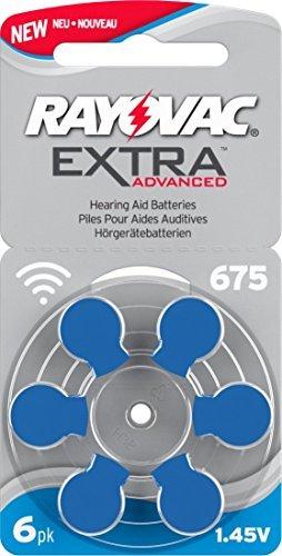 Rayovac - 10 confezioni da 6 pile per apparecchi acustici, taglia 675. Portapile incluso.